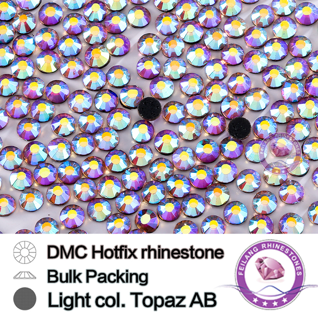 Light col. Topaz AB Size SS16 SS20 SS30 Bulking Packing HotFix Rhinestone For Garments Bags And Shoes