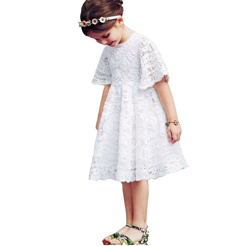 2018 Korean Girls Short Sleeves Lace Princess Dress Summer Fashion Baby Girl Clothes Toddler Kids Dresses For Girls 3 5 8 10 T ems dhl free shipping toddler little girl s 2017 princess ruffles layers sleeveless lace dress summer style suspender