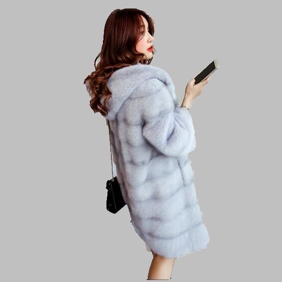 2017 Женщины Зимнее Пальто Новый Средней длины Тонкий Норки Мода с капюшоном Толстые Теплые Шубы Случайные Крупных Женщин размер Пиджак AB490