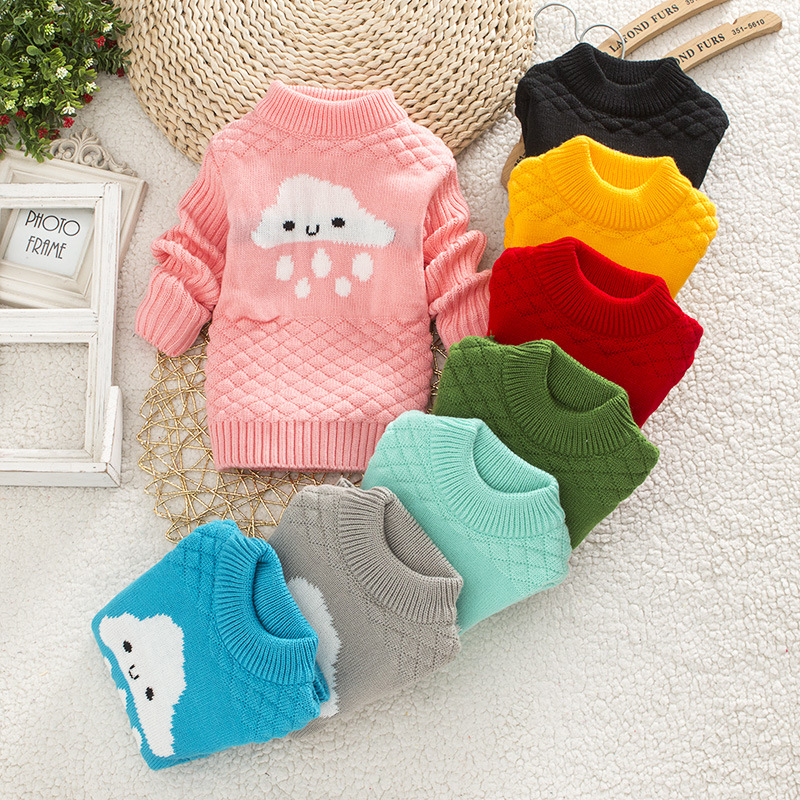DIIMUU Baby Boys Girls Clothing Casual Print Winter Warm Long Sweater Kids Fashion Clothes Outdoor Leisure Tops 1-3 Years 8