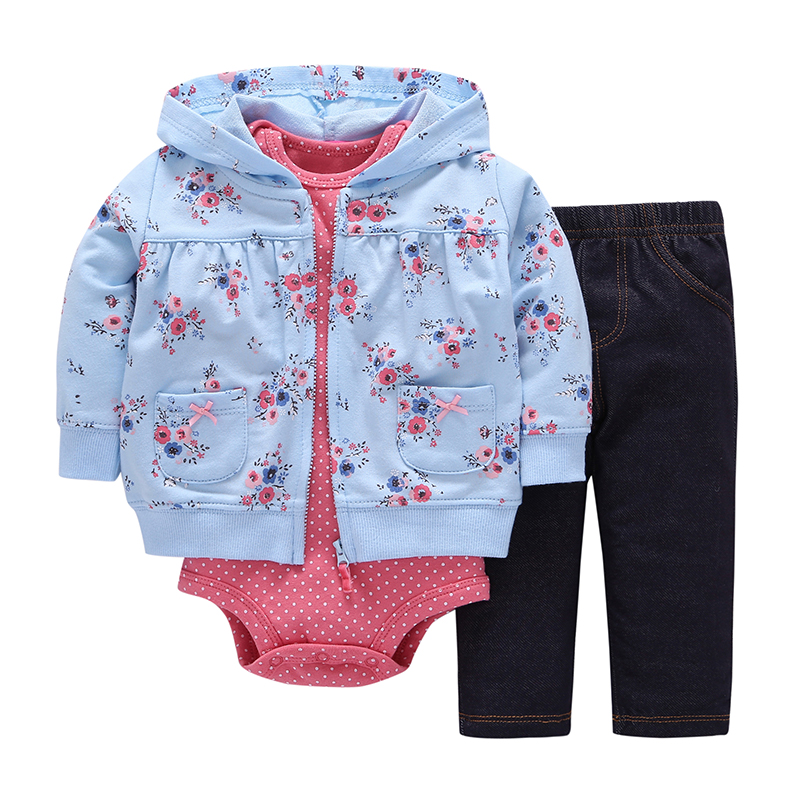 Newborn Baby boy Girls 3 Pieces Set Clothes Hooded Zipper Full Sleeve Open Stitch Coat+Full Sleeve Bodysuits+Floral Print Pants open front side pocket hooded coat