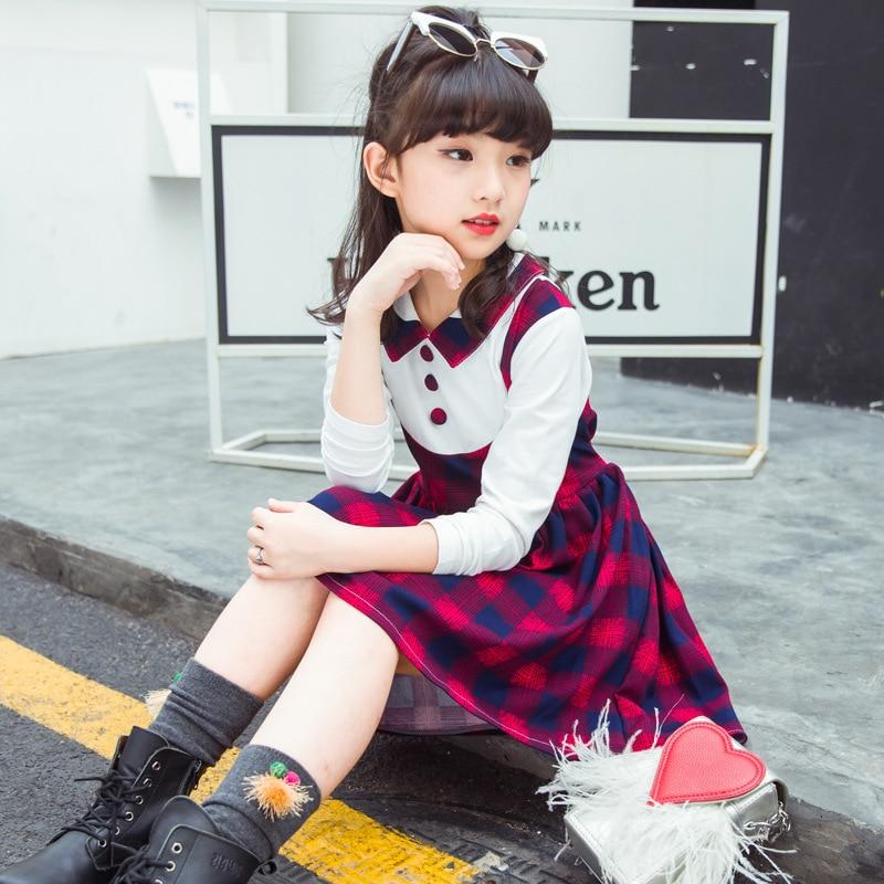 NEW Plaid Teenage Girl Dress Fashion Style Girls School Dress Wear School Girls Uniform Kids Children clothing 3-12 year