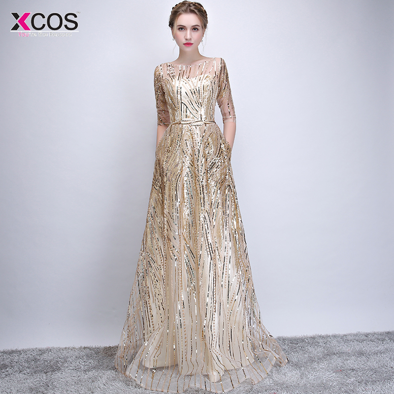 vestido de festa Bling Gold Sequins Half Sleeve   Evening     Dresses   A line Scoop Neck Luxury Arabic   Evening   Gowns   Dresses   Formal