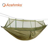 Acehmks Hammock With Mosquito Net Outdoor Parachute Nylon Ultralight Portable Tent For Camping Hiking 260x140 CM