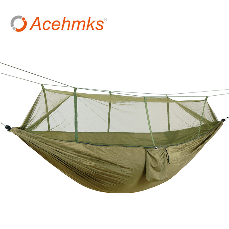 Acehmks Hammock With Mosquito Net Outdoor Parachute Nylon Ultralight Portable Tent For Camping Hiking 260x140 CM acehmks hammock double portable folding ultralight parachute nylon camping hammocks garden swing with 2 aluminum alloy snap