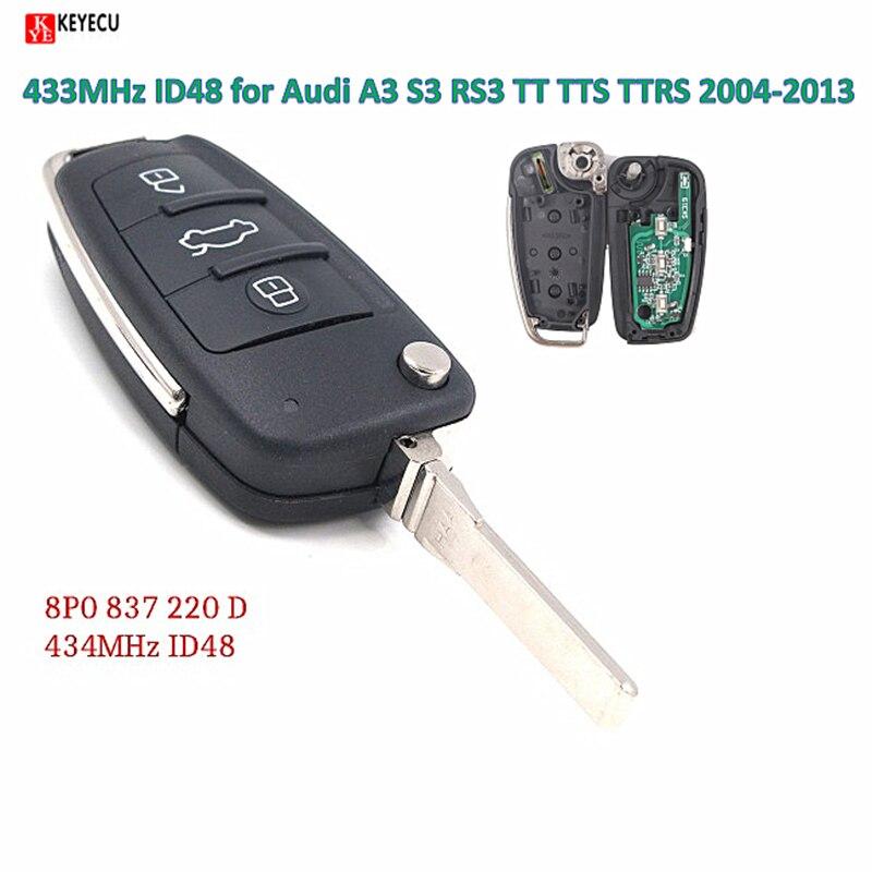 Keyecu Upgraded Flip Remote Car Key Fob 433MHz ID48 for Audi