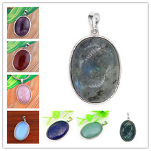 100-Unique Simple Style Silver Plated Oval Shape Many Colors Quartz Stone Pendant For Gift Jewelry