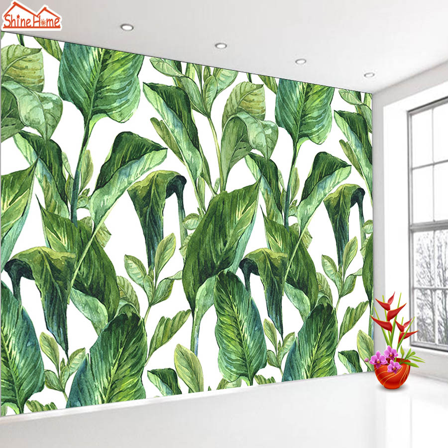 ShineHome-Nature Banana Leaf Wallpaper 3d Photo Wallpaper Rolls for Walls 3 d Livingroom Wallpapers Mural Roll Paper Background shinehome abstract brick black white polygons background wallpapers rolls 3 d wallpaper for livingroom walls 3d room paper roll
