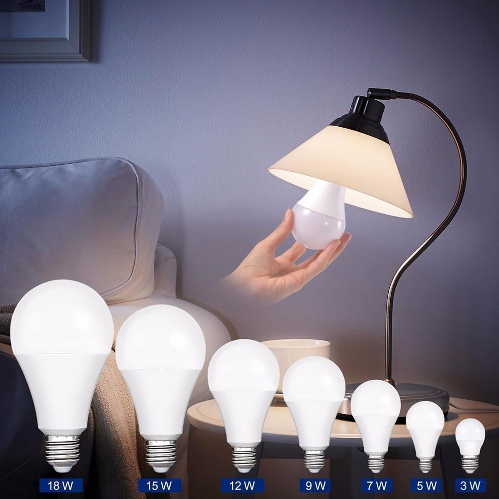 Smernit LED Light Bulb E27 AC85-265V 7W 9W 12W 15W 18W White 110V 120V 220V 230V 240V Warm Energy Saving Bulbs Lamps Lampada