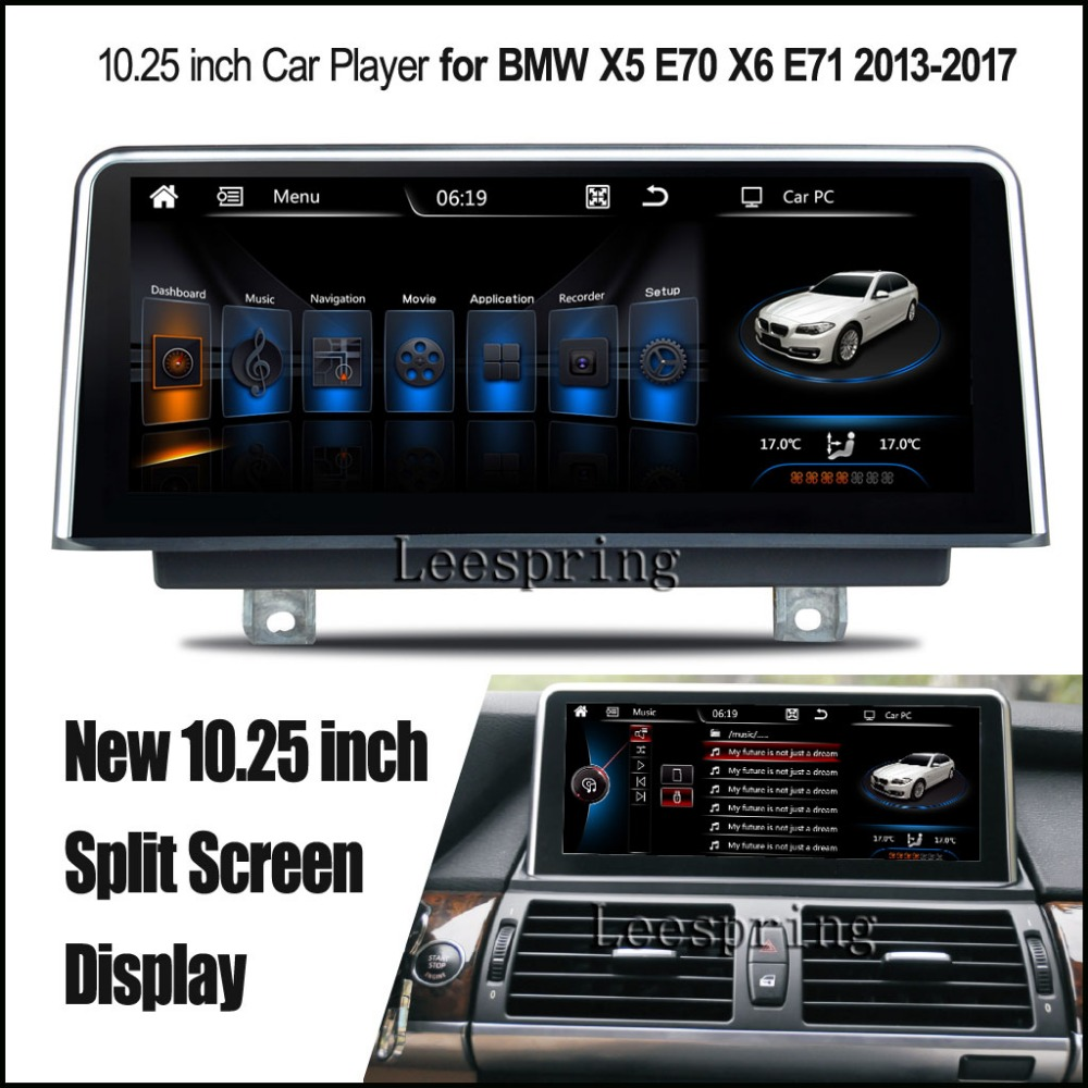 new inch split screen android 4 4 car player for bmw x5 e70 bmw x6 e71 2013 2017 gps with. Black Bedroom Furniture Sets. Home Design Ideas