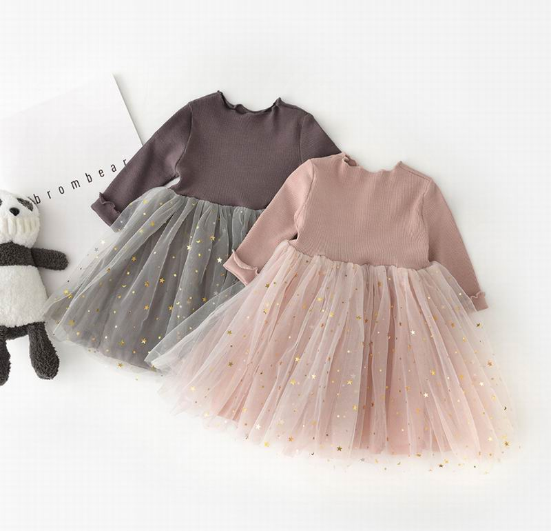 Princess Gown For Child Ladies Korean Model Glitter Pentagram Lengthy Sleeve Gown Youngsters Attire Garments 9M-4T E83025