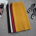 Tras la caída y el invierno versión Coreana de tocar fondo grueso fur punto hendidura falda de lana de la falda yardas grandes Ms.