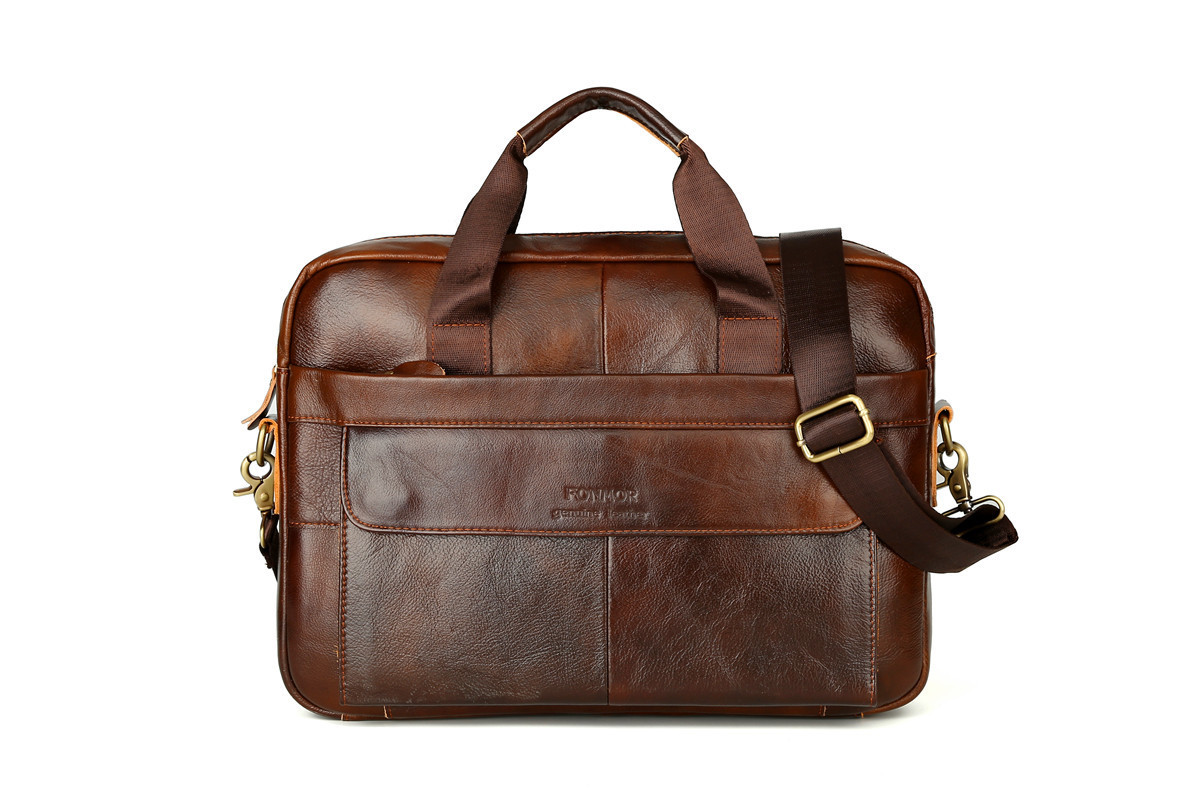 Cowhide Leather Briefcase Mens Genuine Leather Handbags Crossbody Bags Men's High Quality Luxury Business Messenger Bags Laptop