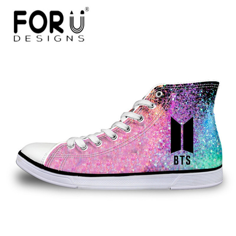 FORUDESIGNS Fashion Kpop BTS Print High-top Canvas Shoes Women Lace Up Vulcanize Shoes Youth Girls Casual Classic Flats Sneakers bts shoes women canvas flat shoes 2016 new arrivals kpop bts all members ladies flats free shipping