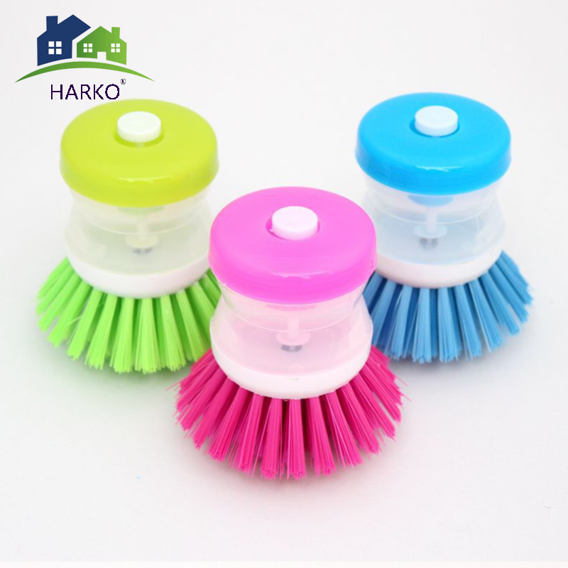 2019 New Arrival Kitchen DishWashing Brush Utensils Pot Dish Brush With Washing Up Liquid Soap Dispenser Plastic
