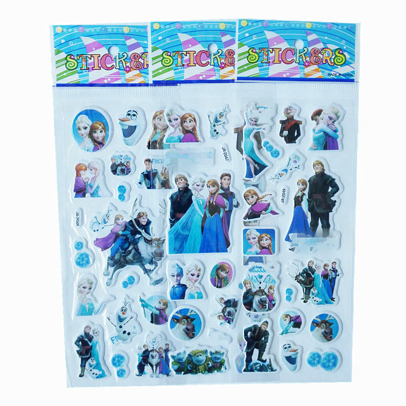 3Pcs / Lot Cartoon TV Snow Princess Puffy Stickers 3D DIY Reward Kids Toys birthday gift Cute Puffy Children toys Stickers 10 sheets cute masha and bear 3d stickers diary pvc puffy reward kids lot kawaii educational bubble stickers for notebook
