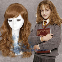 Movie Harry Potter Hermione Jean Granger Brown Wavy Wig Role Play Hair Costumes