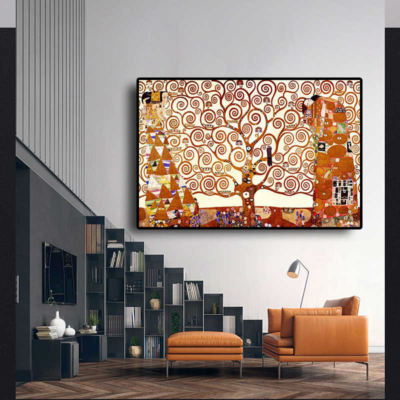 Tree of Life klimt by Gustav Klimt Oil Painting on Canvas Posters and Prints Scandinavian Wall Pop Art Picture for Living Room