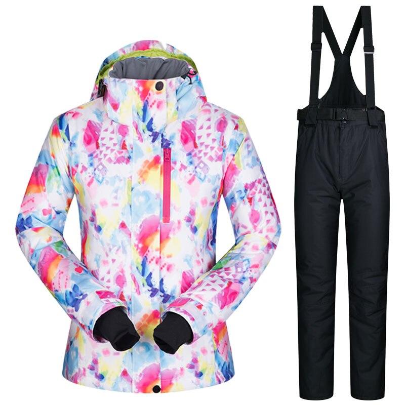 Femmes Ski costume marques hiver coupe-vent imperméable respirant chaud ensemble veste de Ski et pantalon de neige Ski et snowboard costumes