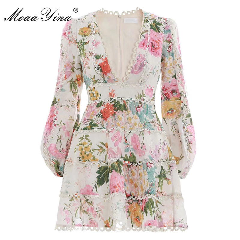 MoaaYina Sexy Vacation dress Deep V neck Water soluble Print Puff Sleeve dresses 2019 spring and