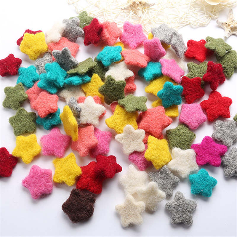 1PC Lovely Wool Felt At Random DIY Craft Pentagram Poke DIY Kits Multiuse Christmas Tree Decorations Brooch Children Hair Band