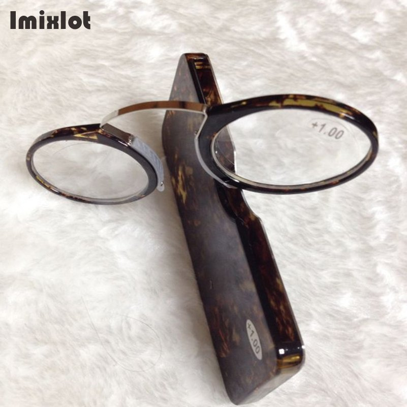 Imixlot Nose Resting Reading Glasses 1.0 to 3.5 Portable SOS Wallet Reader Clip on Mini Reading Glasses With Case