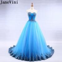 JaneVini синий возлюбленной сексуальные платья невесты Длинные Кружева Аппликации с открытой спиной Ливан формальное платье тюль на шнуровке