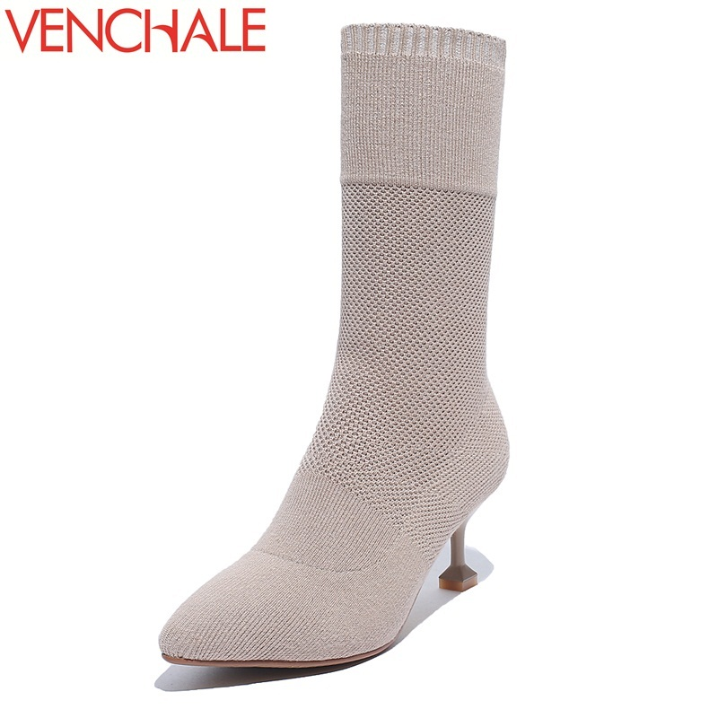 VENCHALE mid-calf boots different design gentlewoman lengthen the leg line America and Europe pointed toe warm women boots double buckle cross straps mid calf boots