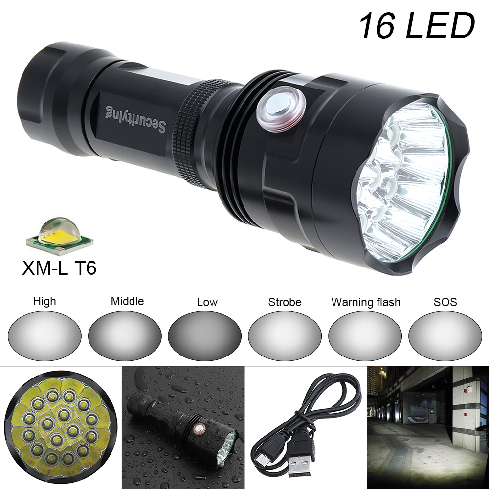 SecurityIng Super Bright 7200LM 16x XM-L T6 LED Flashlight Outdoor Waterproof LED Flash Light Torch Lamp Support USB charging super bright new zoomable xm l t6 led flashlight torch light stand power bank for your phone outdoor usb charger holder