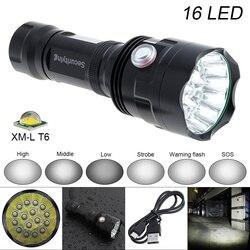 SecurityIng Super jasne 7200LM 16x XM-L T6 lampa błyskowa LED światła zewnętrzne wodoodporne LED lampa błyskowa LED latarka latarka obsługuje USB ładowania