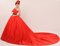 2017 new stock plus size women pregnant bridal gown wedding dress sexy red belt strapless 1.5m long tail train luxury romantic