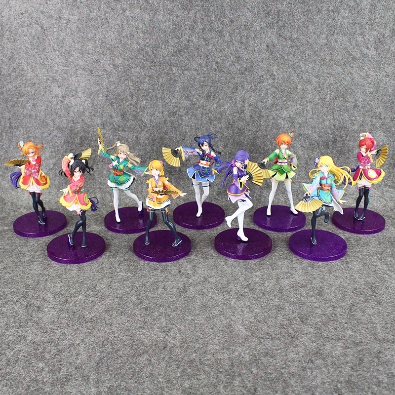 Anime Love Live PVC Figure Honoka Minami Kotori Sonoda Umi Yazawa Niko with Fans Cute Girls Model Doll for Collection 1