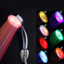 7 Color Romantic Automatic Magic  5 LED Lights Handing Rainfall Shower Head Single Round Head RC-9816 for Water Shower Bathroom