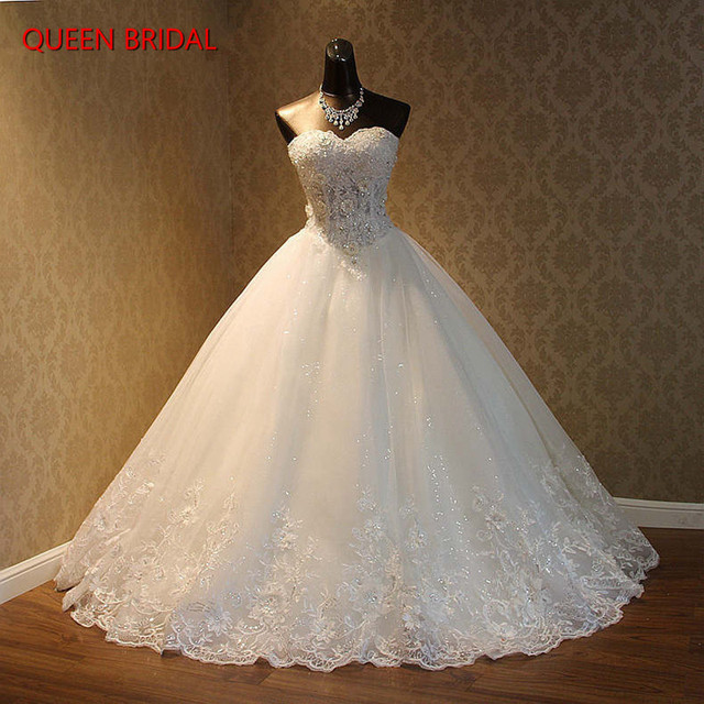 Custom Made Ball Gown Sweetheart Lace Beading Crystal Luxury Fluffy Wedding Dresses Vestido De Noiva Muslim Bridal Gowns BY06