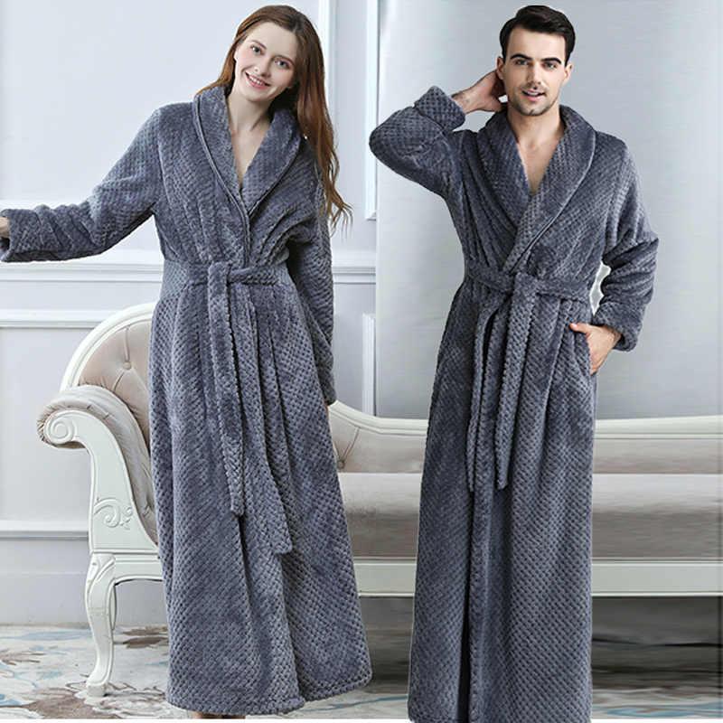 男性冬エクストラロングニットワッフルフランネルサンゴフリースバスローブ男性フル袖着物バスローブ女性暖かいドレッシングガウン