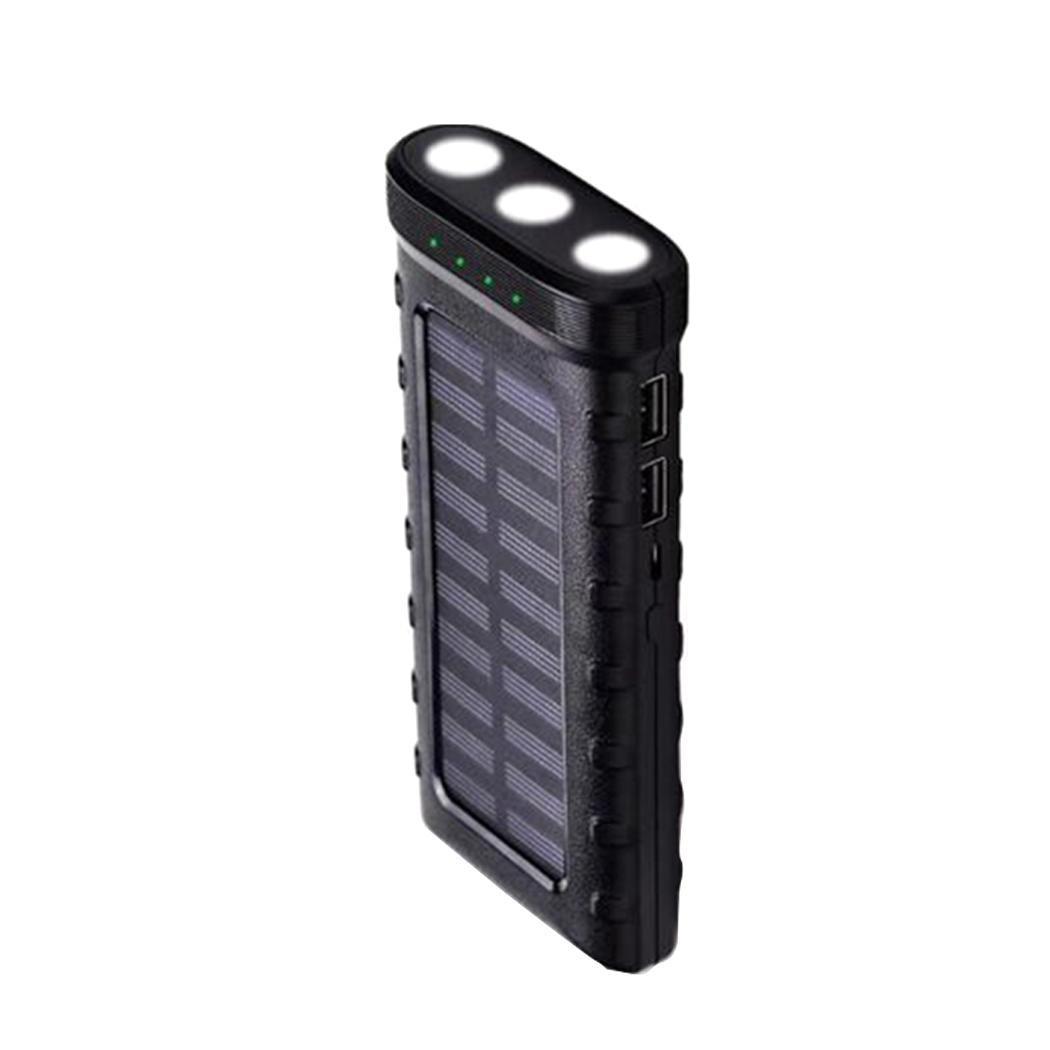 Durable Practical Dual USB Ports Solar 2A 25000mAh  Power Bank With 5V/2.1A LED Flashlight