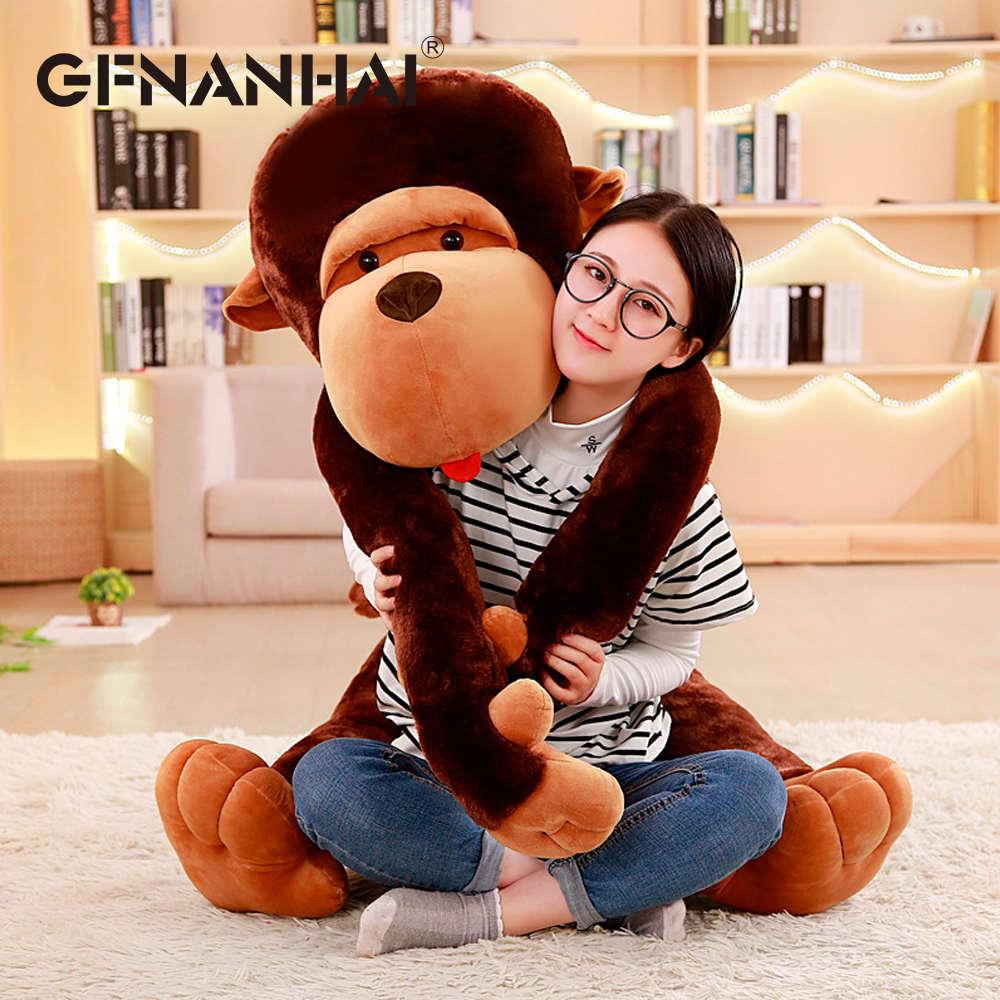 1 st 110 cm enorme size cartoon Grote mond aap knuffel de Gorilla Diamant pluche pop gevulde kussen voor kinderen speelkameraadjes speelgoed