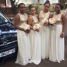 Charmming Chiffon With Top Champagne Gold Sequin Bridesmaid Dresses Formal Prom Dress  Long Vestido De Festa De Casamento