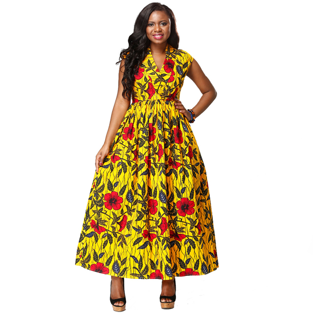 shenbolen summer 2017 African woman clothes ankara fabric sleeveless dresses fashion wax printing bazin dress