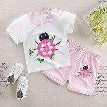 2019 летняя новая милая одежда для маленьких детей Детская одежда футболка с короткими рукавами и круглым вырезом с рисунком + шорты, комплект из 2 предметов