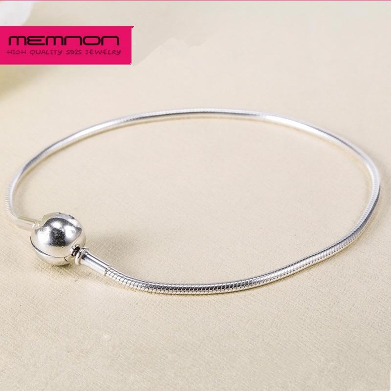 925 Sterling Silber Schmuck Essenz Dünne Schlange Armbänder Fit Kleine Loch Perlen Charms Halskette Diy Armbänder Für Frauen Eyl003