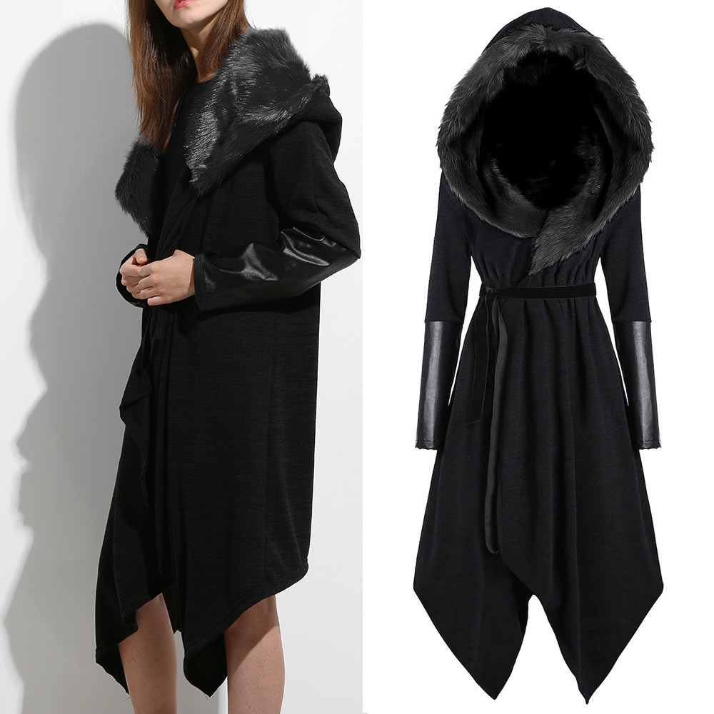 d1ff65a84e37 Winter Autumn New Basci Long Black Female Coat Women Solid Stitching Long  Sleeve Faux Fur Panel