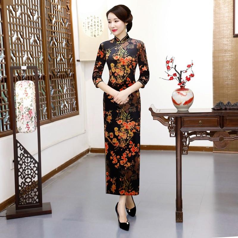 Noir Sexy femmes trois quarts manches Cheongsam traditionnel chinois robe imprimer Floral élégant velours Qipao Long Slim Vestidos