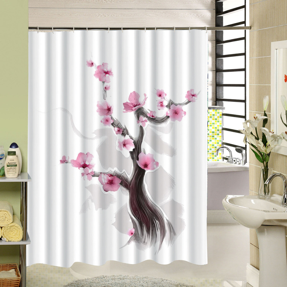 Watercolor Red Floral Shower Curtain Polyester Long Purple Flowers ...