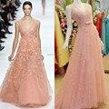 Luxury Pink Formal Vestido de Noche 2017 Una Línea de Longitud del Piso Cuello En V Con Rebordear Elie Saab 3D-Floral Flor Formal Prom vestidos