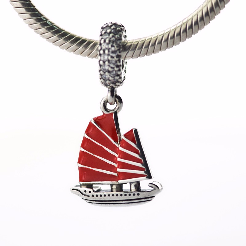 2017 Summer Red Enamel Chinese Junk Ship Charms Beads 925 Sterling Silver Travel Beads Fit Pandora Bracelet For Jewelry Making