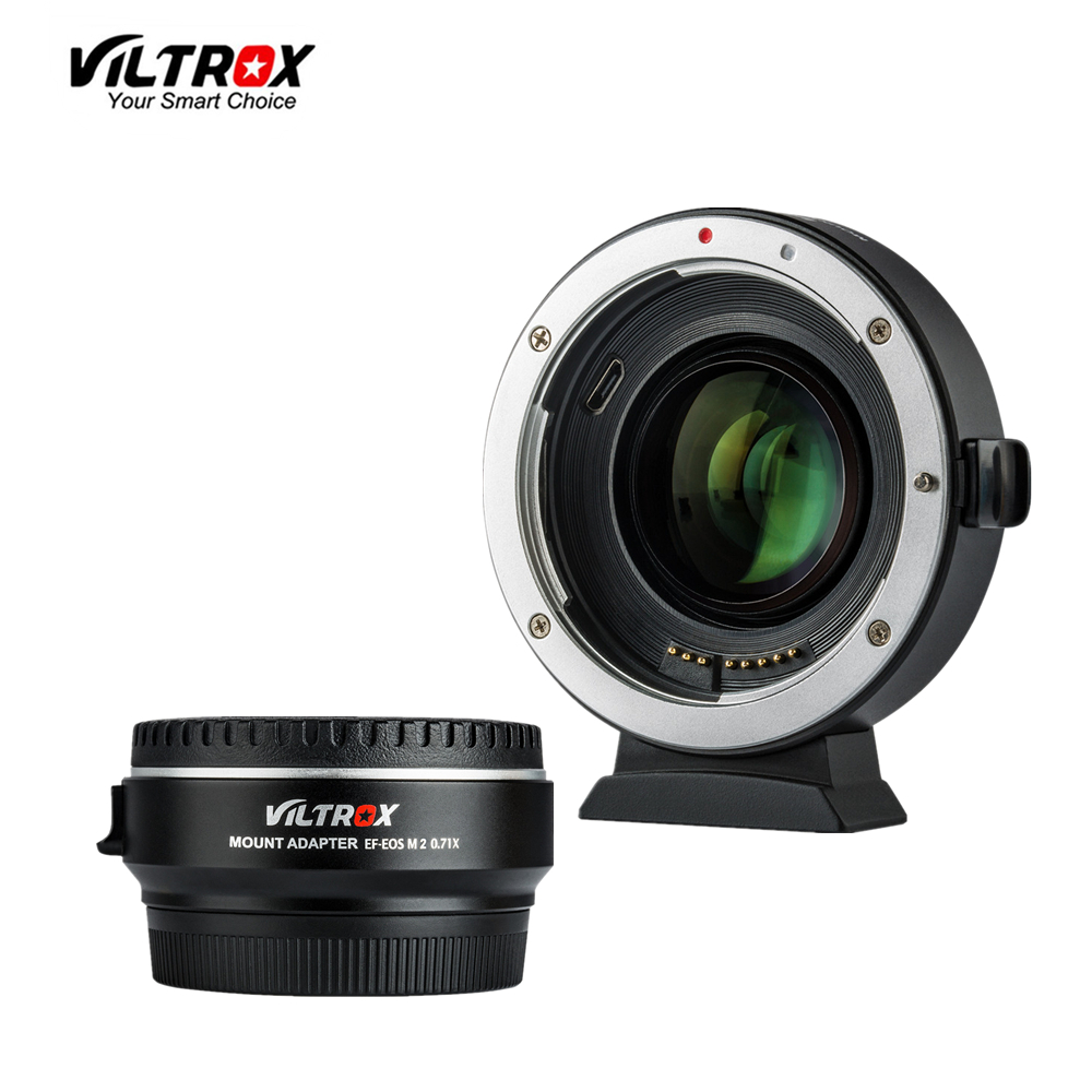 Viltrox EF-EOS M2 Focal Reducer Booster Adapter Auto-focus 0.71x for Canon EF mount lens to EOS M camera M6 M3 M5 M10 M100 M50