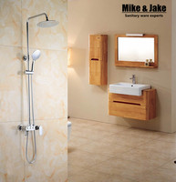 Whole Brass Three Function Shower Set With Press Button Shower Faucet Mixer Bathroom Shower Set