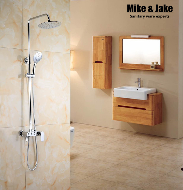 Whole brass three function shower set with press button shower faucet mixer bathroom shower set sognare new wall mounted bathroom bath shower faucet with handheld shower head chrome finish shower faucet set mixer tap d5205
