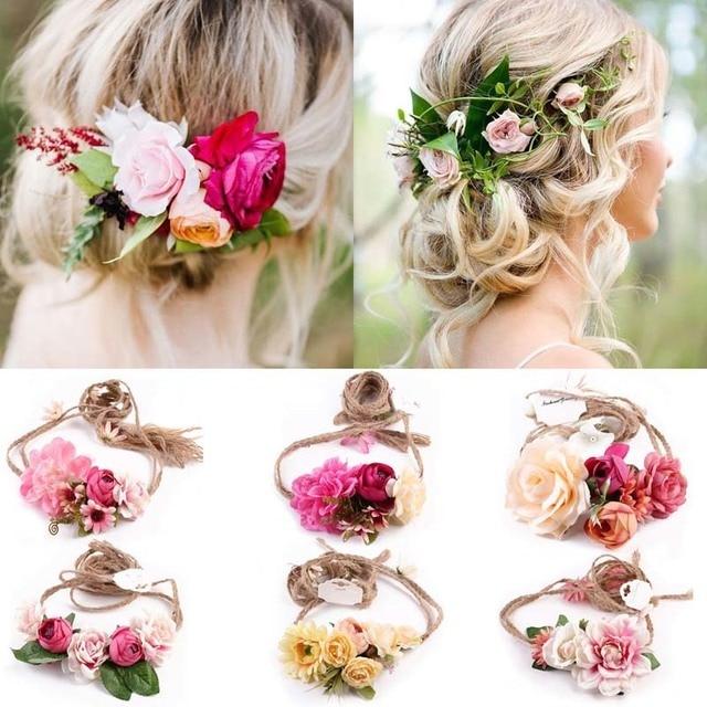 2018 Hot Sale Bridal Flower Headband Bohemia Crown Garland Belt Women Hair  Hoop For Wedding Party Festival Wreath 77778b4ada0